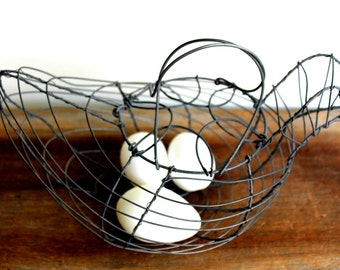 vintage wire egg basket in the shape of a chicken, cottage decor, farmhouse decor