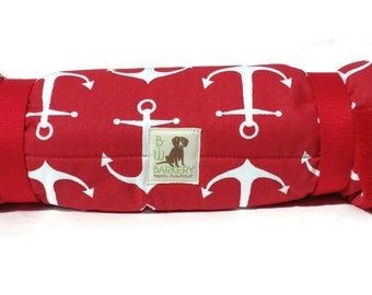 Dog Bed - Nautical Red And White Anchors Bed Roll