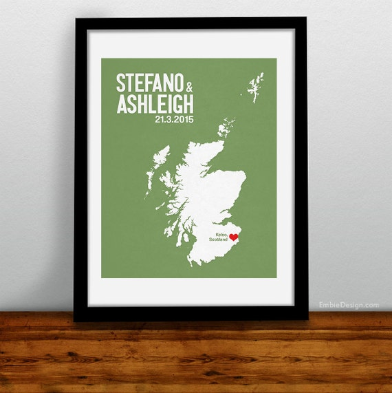 Scottish Wedding Gifts: Scotland Wedding Gift Personalized Print Custom