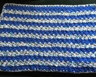 """Crocheted Baby Blanket 26""""x 40"""" Blue White and Tan / Car Seat Blanket / Travel Blanket / Bassinet Blanket / Crib Blanket"""
