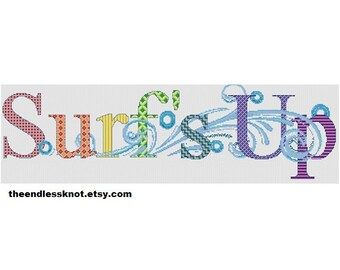 Surf's Up Decorative Word Cross Stitch Chart PDF Pattern - Zentangle Surfer Surfing Waves Pattern Colourful Word Art Instant Download