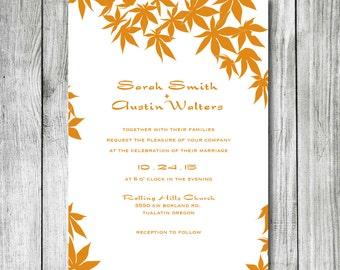 Wedding Invitation - DIY Printable Wedding Invite - Maple Leaf Design Wedding Invitations