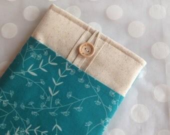 ipad mini case - ipad mini sleeve - ereader case- kindle fire cover - ipad mini cover / turquoise fabric