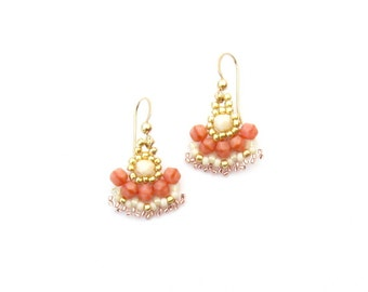 Blush pink ivory gold earrings, small beaded earrings, triangle earrings, dainty dangle earrings, salmon pink colorful earrings