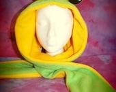 Frog Monster Hood Fleece Scoodie Spirit Hood Kawaii Hat Scarf OOAK CUSTOM