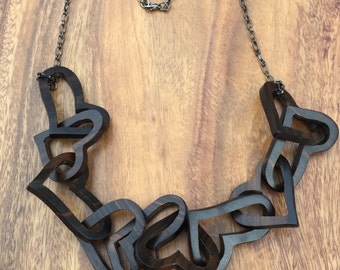 Ebony Hearts Necklace