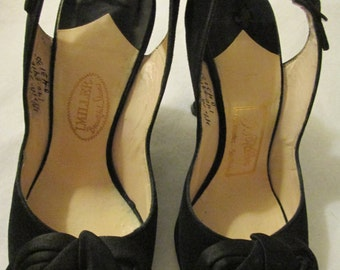 1950's Ladies Black Peep Toe Slingback Heels/Bow by J Miller Size 4 1/2