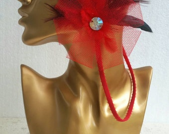 Retro bachelorette party Flower hairband. Red flower with feathers, vintage hair accessory, burlesque bachelorette, hen party, casino party