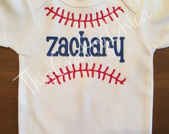 Personalized baby baseball creeer * baby boy * stitches* sports* name