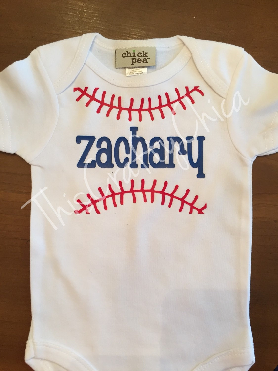Personalized baby baseball creeer baby boy stitches
