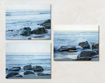 Blue Photography Set, Coastal Wall Art, Sea Photograph Set, Three Print Set, California Art, Laguna Beach Picture Set, Rocky Beach Print