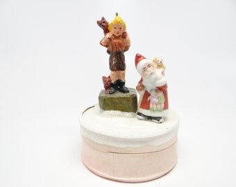 1940's German Candy Box with Santa and Boy,  Antique Candy Container for Christmas