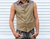 LIMITED EDITION Mens Light Brown Sleeveless Pinstripe Vest with purple, blue and gold & Brass Sri yantra snaps