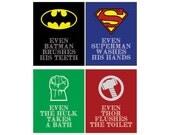 Printable Super Hero Bathroom Art - 4 Different Prints - Instant Download