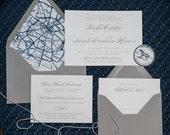 Traditional Wedding Invitation, Map Wedding Invitation, Custom, Envelope Liner, Simple, Elegant, Classic, Formal, Letterpress, Script