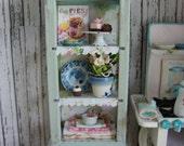 Dollhouse Miniature Vintage Shabby Chic Farmhouse Country Cabinet Storage Kitchen Hutch Baking Center