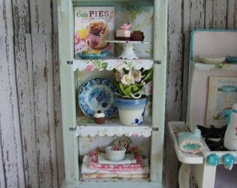 Dollhouse Miniature Vintage Shabby Chic Farmhouse Country Cabinet Storage Kitchen Hutch Baking Center