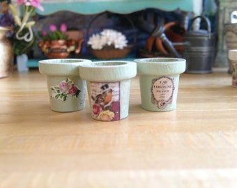 Dollhouse Miniature Vintage Style Tiny Wooden Green Flower Pots Set of 3