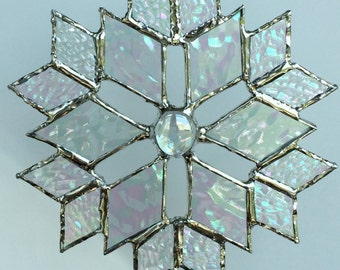 stained glass snowflake sun catcher  (design 5)