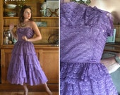 50's Amethyst Lace Party Dress