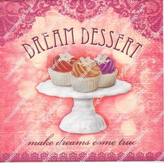 Pattiserie Decoupage Napkins Paper Vintage Cup Cakes