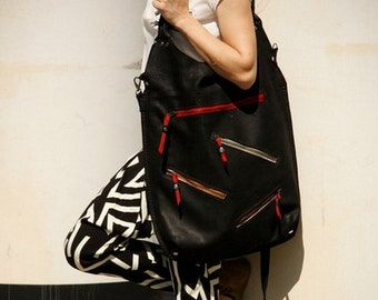 oversize leather woman bag handmade ladybuq art design black