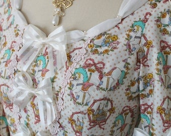 Sweetly Dreaming Rococo Pony Carousel OP Dress with Voluminous Ruffle Sleeves, Petite Echelle Ribbons, Satin Ribbon, Rose Lace, Sweet Lolita
