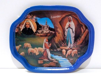 Lourdes Tray Vintage Fatima Small Plate France Our Lady of Fatima Trinket Dish Miracle Catholic Religious Item French souvenir Free USA Ship
