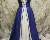 Blue Renaissance Costume-Halloween Costume-Medieval Dress-LARP-Ren Fair-Steampunk-SCA-Adult Costume-Medieval Clothing-Fantasy-Item #104