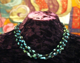 Turquoise Necklace, Ethnic Jewelry, Tribal Necklace, Multi Strand Necklace, Statement Necklace, Natural Turquoise Nugget, Beadwork