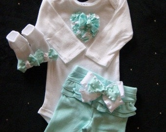 NEWBORN Baby Girl Mint pant set,Take Me Home clothing set Coming Home Outfit  Baby Girl Hospital Outfit Baby Girl Shower GIft