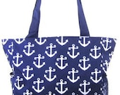 Large canvas beach bag in anchor design