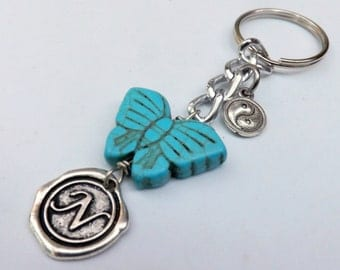 Turquoise Butterfly Keychain Personalized  Wax Seal Key Holder Patina ed Butterfly Keychain Yin-Yang  Keychain