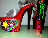 PEACE OUT metallic candy red jeweled bling neon butterfly rainbow UV platform Pleaser Sky sexy exotic pole dance stripper burlesque heels