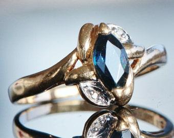SALE Vintage 10K Yellow Gold .61 Carat Ceylon Sapphire And Diamond Engagement Ring size 8 Shop for Birthdays Anniveraries