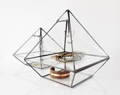 Stained Glass Display Box, Clear Glass Jewelry Box, Pyramid with glass shelf and beveled glass triangle.