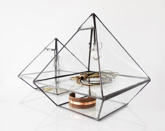 Stained Glass Display Box, Clear Glass Jewelry Box, Pyramid with glass shelf and beveled glass triangle. Made To Order