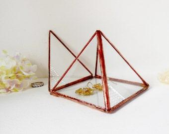Glass Display Box. Copper Tone Finish. Small Jewelry Box. Small Pyramid, Ring Bearer Wedding Ring Box.
