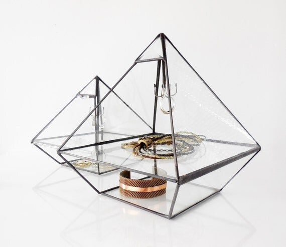 Stained Glass Display Box Clear Glass Jewelry Box Pyramid