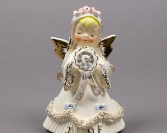Vintage Lefton June Birthday Angel, Bride Angel, Spaghetti and Rhinestones, Vintage Cake Topper made in Japan