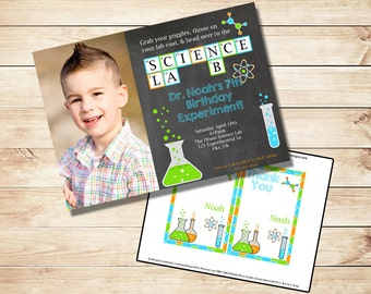 Science Party Invitation - Chemistry Party - Scientist Birthday Invitation - PRINTABLE Photo Invitation - Thank You Card