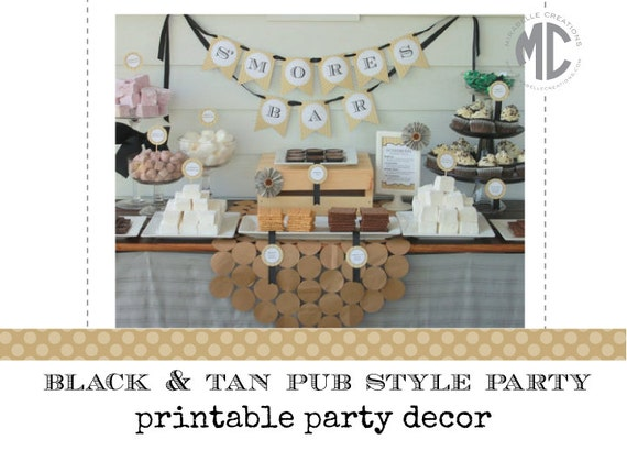 Printable Party Collection -- Black & Tan Party Collection -- Mirabelle Creations
