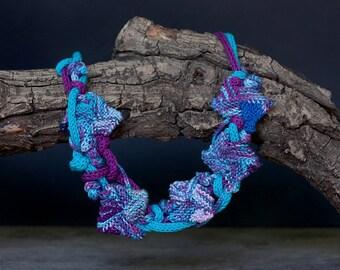 Blue purple statement necklace, knitted fiber rustic jewelry, OOAK wearable art