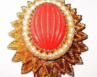 "Emmons Brooch Pin Orange Art Glass Stone & White Beads Tiered 2 1/4"" Vintage"
