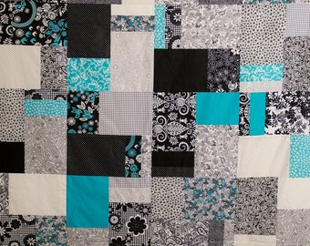Twin Bed Quilt, Large Lap Quilt, Black, White and Blue Quilt, Modern Quilt, Black White and Turquoise, Bed Quilt, Graduation Gift