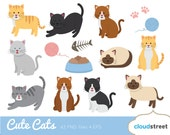 buy 2 get 1 free Cute Cats Clip Art / Cat Clipart / kitten vector graphics illustration / commercial use ok