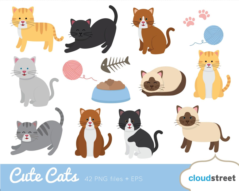 Cute Cats Clip Art / Cat Clipart / kitten vector graphics