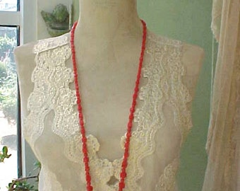 Long Necklace of Cherry Red Beads-Wear or Create Something Else with the Beads