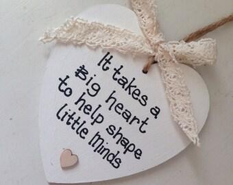 Personalised Teacher, Teaching Assistant heart giftkeepsake