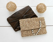 Golden sequin crochet clutch, Vegan slouch Clutch,Minimalist and glamorous.Weeding clutch.